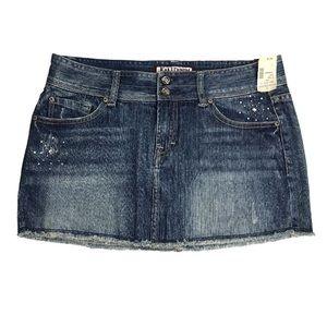 NWT Kali Denim, Rhinestone Embellished Mini Skirt